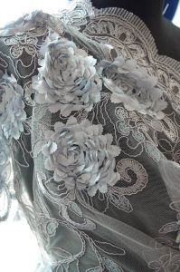 Floral Embellished Tulle Fabric - Silver Grey