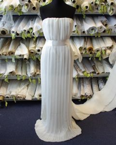 Pleated Chiffon Fabric - Ivory