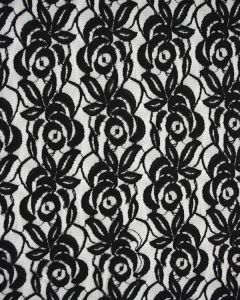Poly Blend Lace Tulle Fabric - Black Roses