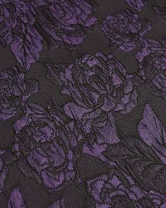 Polyester Brocade Fabric - Purple Roses