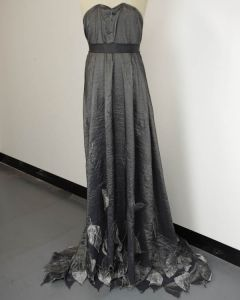 Embellished Taffeta Fabric - Gunmetal