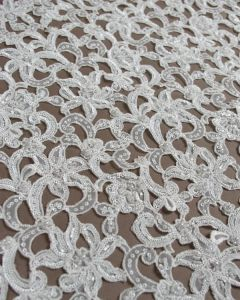 REMNANT Sequinned Organza Burnout Fabric - Ivory