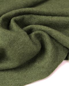 Boiled Wool Blend Jersey Fabric - Olive Green