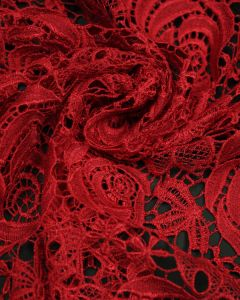 Polyester Guipure Lace Fabric - Red Rose