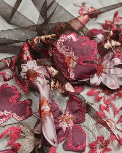 Embellished Tulle Fabric - Brown Floral