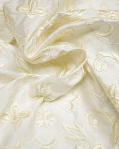 Embroidered Silk Dupion Fabric - Floral Cream