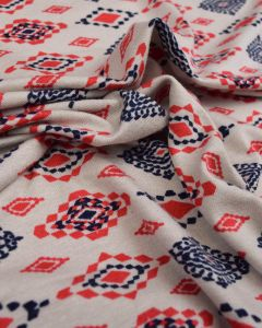 REMNANT Viscose Jersey Fabric - Aztec Diamond Red