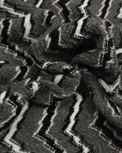 Wool Blend Knit Fabric - Grey Chevron