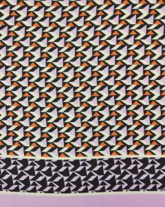 Polyester Satin Fabric - Orange & Lavender Geometric Print