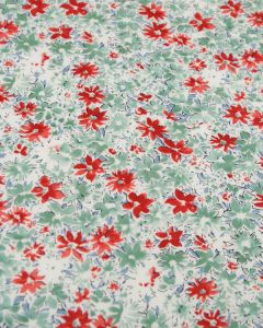 Cotton Lawn Fabric - Ditsy Floral Red & Green