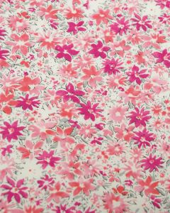 Cotton Lawn Fabric - Ditsy Floral Pink & Peach