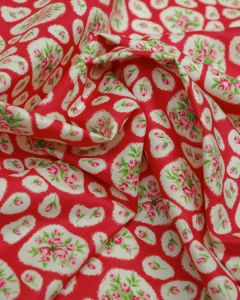 Cotton Lawn Fabric - Oval Floral Print Red
