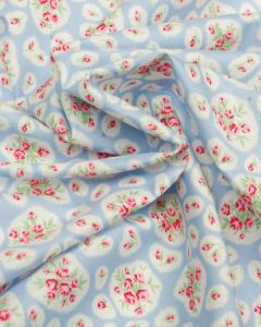 Cotton Lawn Fabric - Oval Floral Print Blue