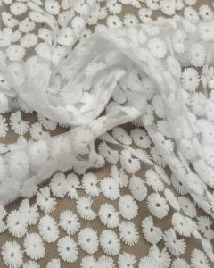 REMNANT White Daisy Tulle Fabric - 190cm x 105cm