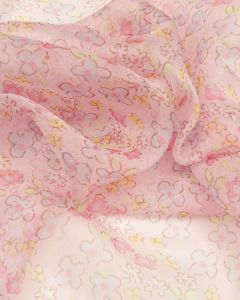 Silk Chiffon Fabric - Baby Pink Ditsy Floral