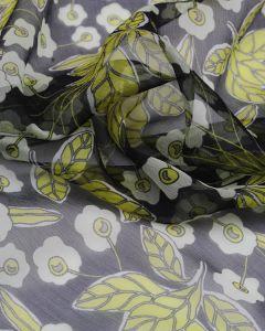 Silk Chiffon Fabric - Winter Daisy
