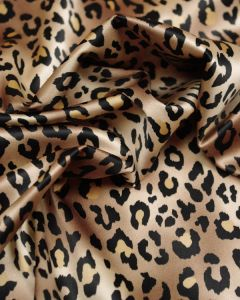 Polyester Stretch Satin Fabric - Leopard Print