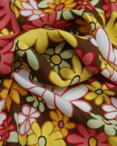 Viscose Crepe Fabric - 60's Floral Ginger