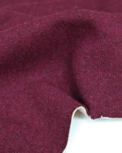 Wool & Cotton Blend Jersey Fabric - Claret Red