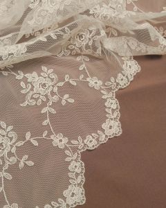Lace Tulle Fabric - Dainty Floral Cream