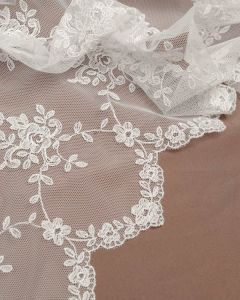 Lace Tulle Fabric - Dainty Floral White