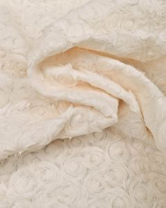 Textured Fur Effect Fabric - Swirl Roses Ivory