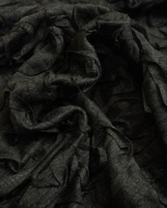 Ponte Jersey Fabric - Appliqué Swirls Charcoal