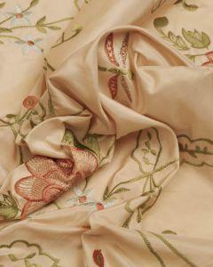 Silk Taffeta Fabric - Floral Embroidery