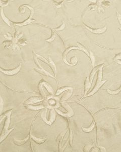 Embroidered Silk Dupion Fabric - Climbing Floral Ivory