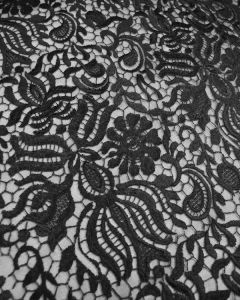 Stretch Lace Tulle Fabric - Black Floral