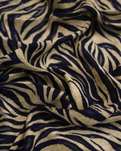 Stretch Devore Fabric -  Gold & Navy Tiger Print