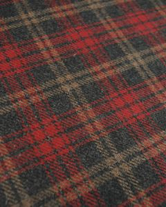 Wool Blend Coating Fabric - Red & Grey Check
