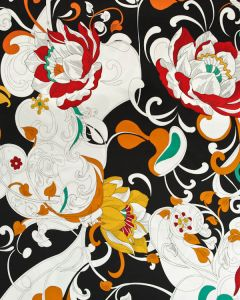 Stretch Cotton Sateen Fabric - Swirling Floral on Black