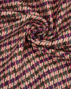 Wool Blend Tweed Fabric - Pink & Purple