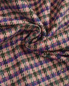 Wool Blend Tweed Fabric - Blue & Pink
