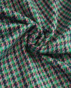 Wool Blend Tweed Fabric - Green & Navy