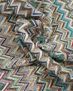 Ex Designer - Chevron Jersey Fabric - Blue & Green
