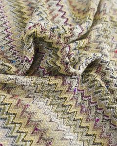 Ex Designer - Chevron Jersey Fabric - Yellow & Plum Purple