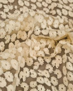 Cotton Blend Embroidered Tulle Fabric - Cream Daisies