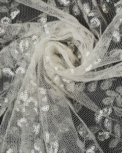 Sequin Tulle Fabric - Ivory Leaves