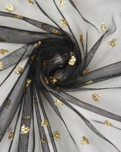 Polyester Tulle Fabric - Gold Hearts on Black