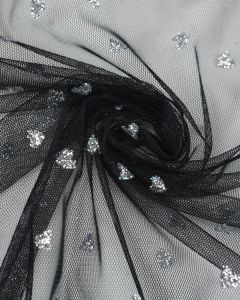 Polyester Tulle Fabric - Silver Hearts on Black