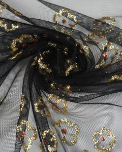 Polyester Tulle Fabric - Gold Flowers on Black