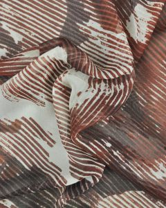 Silk Chiffon Fabric - Striped Floral Chestnut Brown