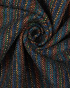 Wool Blend Fabric - Multi Stripe Navy
