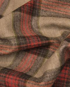 Wool Suiting Fabric - Red Tartan