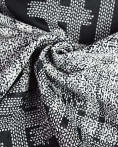 Polyester Jersey Fabric - Monochrome Abstract Panel Check