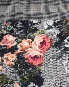 Polyester Crepe Fabric - Herringbone Floral Panel Print