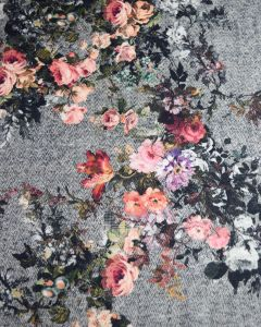 Super Soft Mouflon Coating Fabric - Herringbone Floral