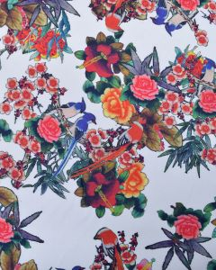 Stretch Cotton Drill Fabric - Floral & Blue Jay Print